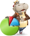 Hippo Cartoon Character - with Business graph