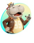 Hippo Cartoon Character - With Circle Shape Background