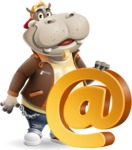 Hippo Cartoon Character - with Email sign