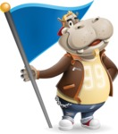 Hippo Cartoon Character - with Flag