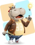Hippo Cartoon Character - With Flat Background