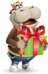 Hippo Cartoon Character - with Gift box