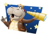Hippo Cartoon Character - With Good Night Background