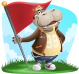 Hippo Cartoon Character - With Nature Background