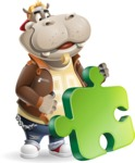 Hippo Cartoon Character - with Puzzle