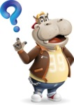 Hippo Cartoon Character - with Question mark