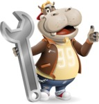 Hippo Cartoon Character - with Repairing tool wrench