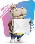 Hippo Cartoon Character - With Rounded Background