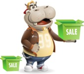 Hippo Cartoon Character - with Sale boxes
