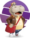 Hippo Cartoon Character - With Simple Background