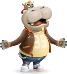 Hippo Cartoon Character - with Stunned face