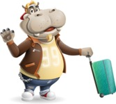 Hippo Cartoon Character - with Suitcase