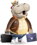 Hippo Cartoon Character - with Two briefcases