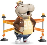 Hippo Cartoon Character - with Under Construction sign