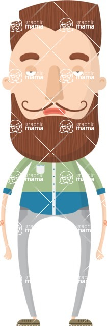 Hipster Cartoon Graphic Maker - Guy with English mustache and beard