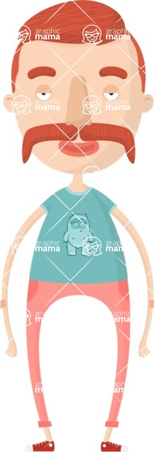 Hipster Cartoon Graphic Maker - Red-haired hipster with mustache