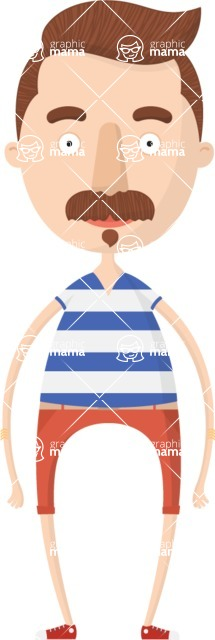 Hipster Cartoon Graphic Maker - Hipster with zappa mustache style