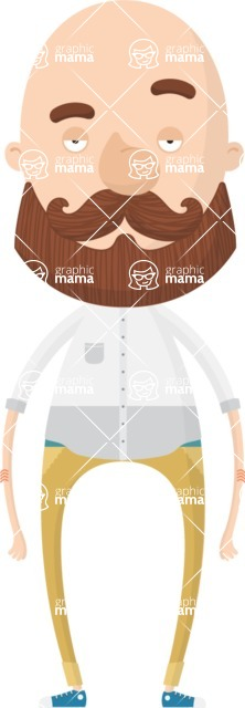 Hipster Cartoon Graphic Maker - Man with shaved head and full beard