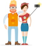 Hipster Vector Graphics - Couple taking a selfie