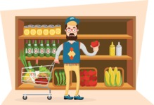 Hipster Vector Graphics - In the supermarket