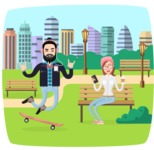 Hipster Vector Graphics - Skateboarding in the park