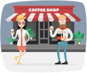 Hipster Vector Graphics - In front of coffee shop