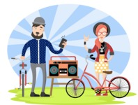Hipster Vector Graphics - Listening to music
