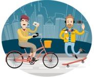Hipster Vector Graphics - Cycling and skating
