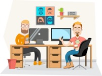 Hipster Vector Graphics - Colleagues at the office