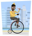 Hipster Vector Graphics - Riding a retro bike