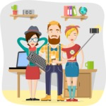 Hipster Vector Graphics - Team taking a selfie at the office