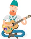 Hipster Vector Graphics - Sitting and playing a guitar