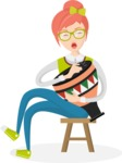 Hipster Vector Graphics - Playing goblet drum