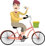 Hipster Vector Graphics - Riding a bicycle
