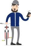Hipster Vector Graphics - Receiving a call