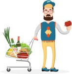 Hipster Vector Graphics - Doing shopping