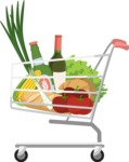 Hipster Vector Graphics - Shopping cart with groceries