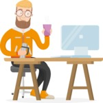Hipster Vector Graphics - Working on a computer