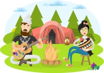 Hipster Vector Graphics - Camping in the forest