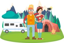 Hipster Vector Graphics - Taking picture in the mountains