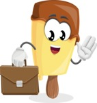 Sweet Ice Cream Cartoon Vector Character AKA Creamsy - Being Businessman with Briefcase