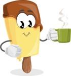 Sweet Ice Cream Cartoon Vector Character AKA Creamsy - Drinking Cup of Coffee