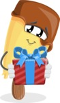 Sweet Ice Cream Cartoon Vector Character AKA Creamsy - Holding a Gift