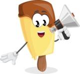 Sweet Ice Cream Cartoon Vector Character AKA Creamsy - Holding a Loudspeaker