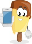 Sweet Ice Cream Cartoon Vector Character AKA Creamsy - Holding a Mobile Phone