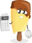 Sweet Ice Cream Cartoon Vector Character AKA Creamsy - Holding Calculator