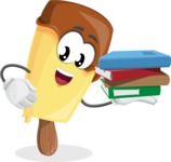 Sweet Ice Cream Cartoon Vector Character AKA Creamsy - Holding Education Books