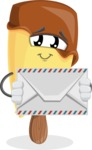 Sweet Ice Cream Cartoon Vector Character AKA Creamsy - Holding Mail Envelope