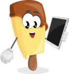 Sweet Ice Cream Cartoon Vector Character AKA Creamsy - Holding Tablet
