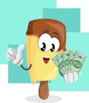 Sweet Ice Cream Cartoon Vector Character AKA Creamsy - Illustration with Money with Background